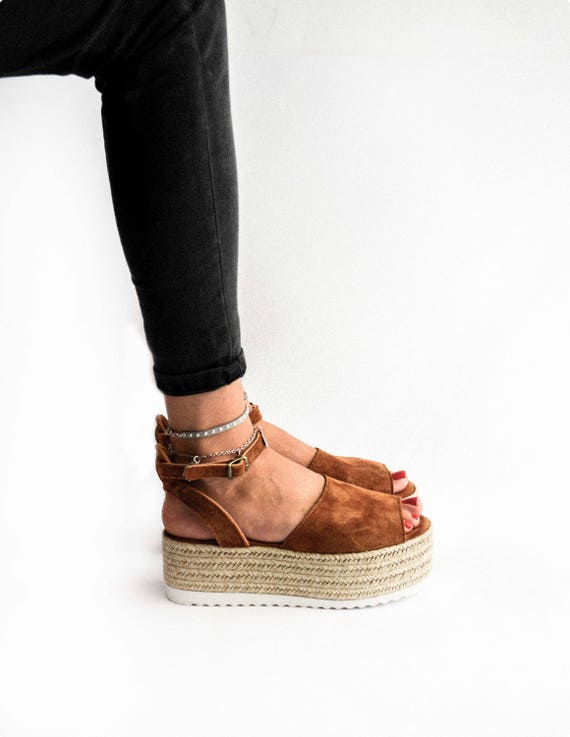 wedge sandals Suede flatform sandals suede sandals greek genuine espadrille sandals Espadrille Flatform Sandals leather PxqrAUOPw