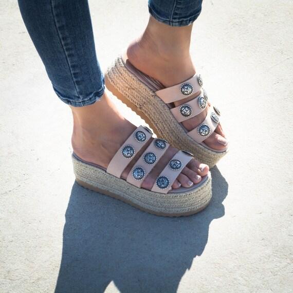 wedge nude sandals ''Rodeo'' platform Sandals sandals greek sandals Nude leather flatform platforms espadrille sandals genuine xOfnv