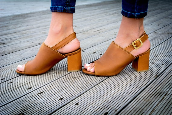 open Leather mules