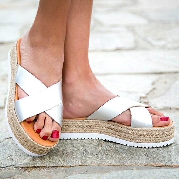grecques grecques sandales argent sandales sandales en nbsp; cuir mariage femmes sandales sandales Les nbsp;Xshape sandales flatform gladiateur qHwzUPZ