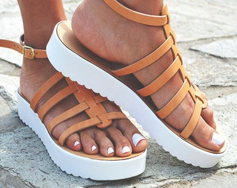 Leather women natural Sandal shoes, Gladiator sandals, leather shoes, greek sandals, leather sandals