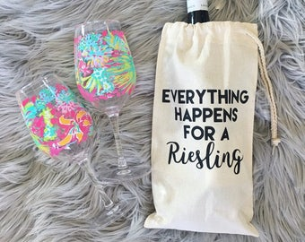Everything Happens For A Riesling | Wine Tote | Wine Carrier | Wine Bag | Wine Carrying Caddy | Birthday Gift | Hostess Gift