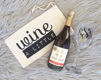 Wine A Little | Wine Carrier | Wine Tote | Wine Gift | Wine Bag | Wine Bag Holder | Hostess Gift | Birthday Gift