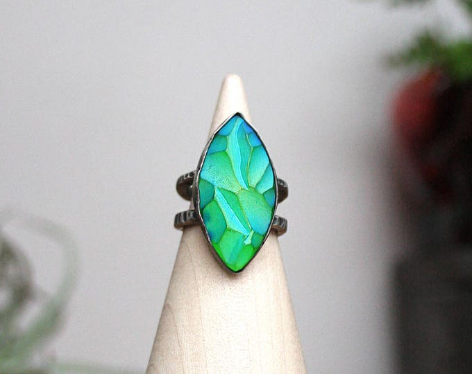 """""""Sea Witch"""" Ring - Sterling Silver and Vintage Czech Glass"""