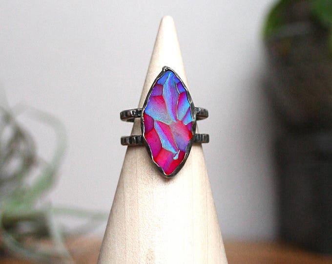 """""""She Devil"""" Ring - Sterling Silver and Vintage Czech Glass"""