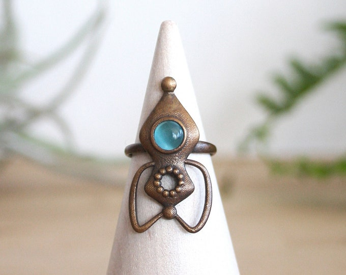 Bronze and Blue Glass Rocket Ring