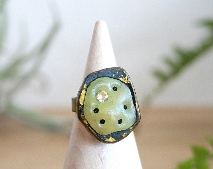Bargain Bin - Handmade Brass and Green Polymer Ring