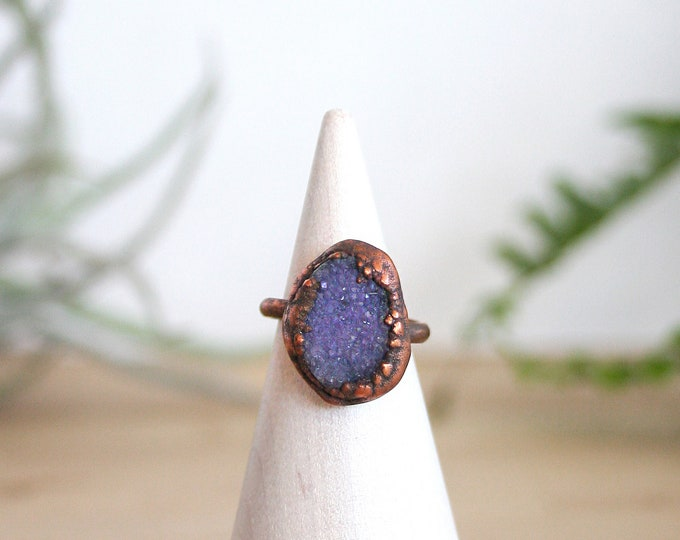 Purple Druzy and Copper Ring