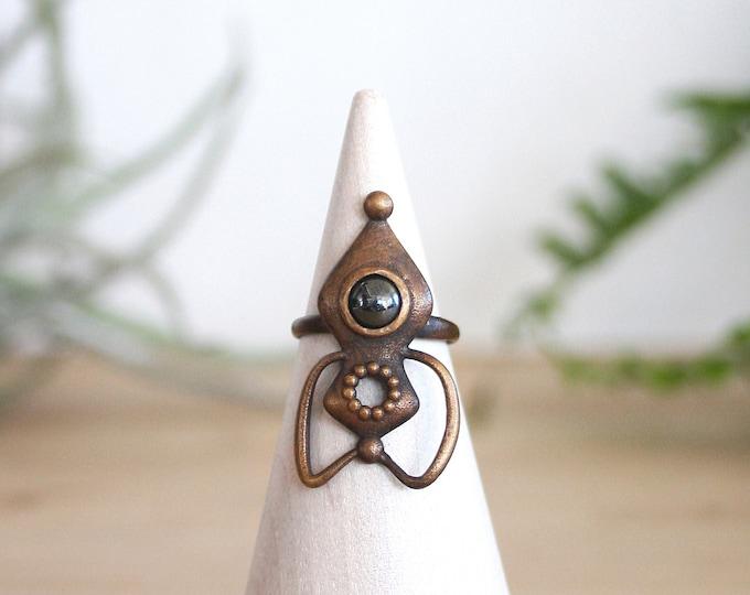 Bronze and Hematite Rocket Ring