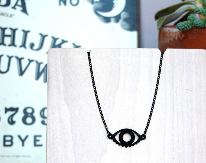 """Seer"" Necklace in Matte Black"