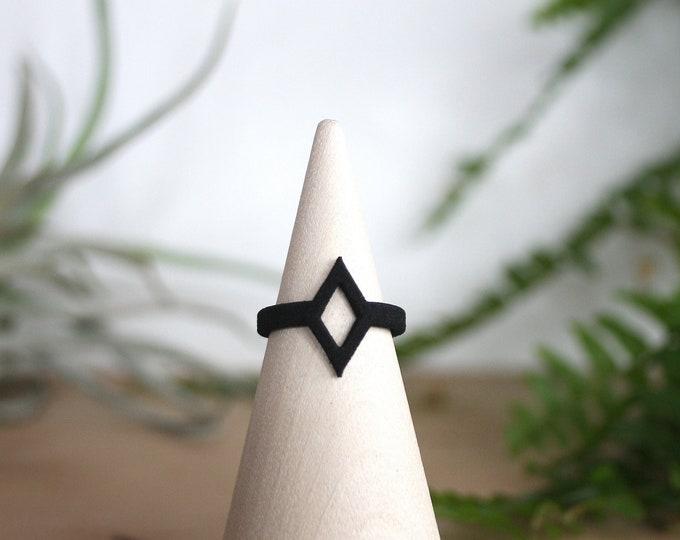 Narrow Black Diamond Ring