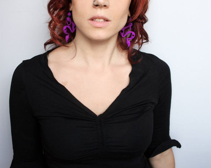 Purple Snake Earrings - Strange Serpent Jewelry - Toxic Viper Earrings - Purple Spike Earrings - Vampire Fangs Jewelry - 3d Printed Earrings