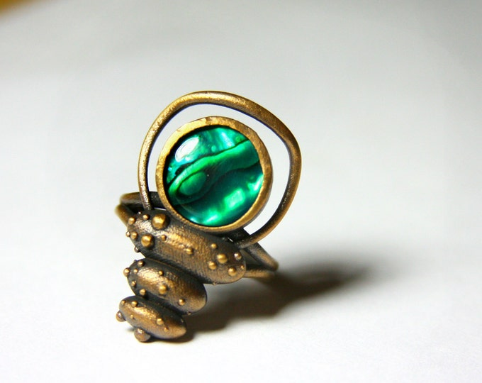 """""""Insect Queen Ring"""" in Bronze with Green Paua Shell"""