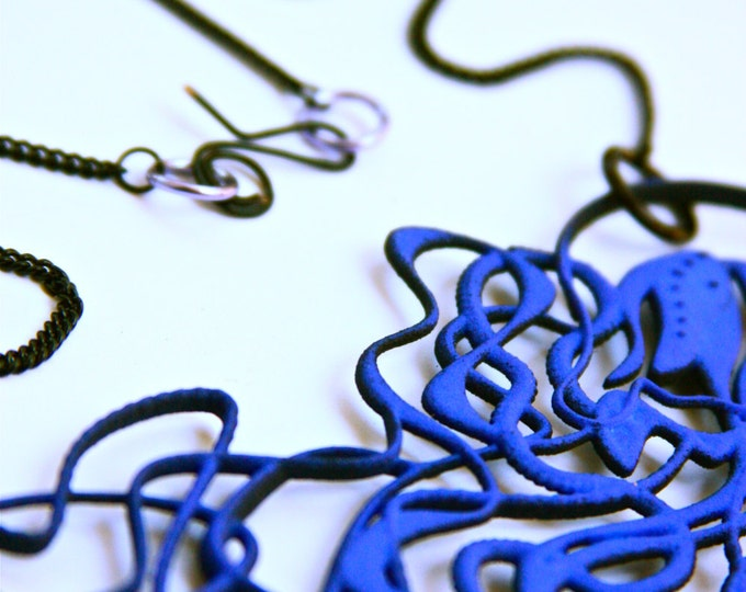 Vibrant Blue Jellyfish Necklace - Ernst Haeckel Inspired Tentacles - 3d Printed Jewelry