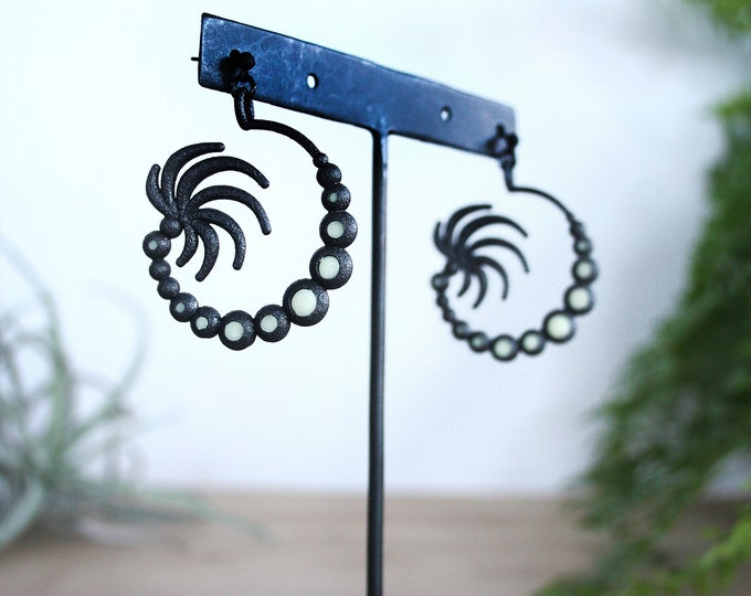 Black Sea Anemone Hoop Earrings