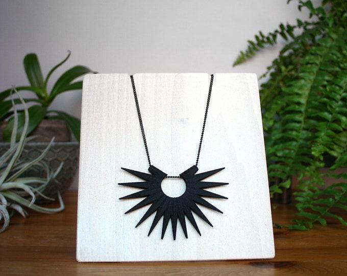 """Transpire"" Necklace in Matte Black"