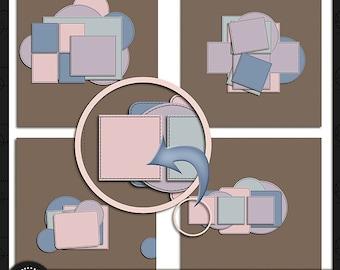 Digital Scrapbooking, Stitch It Up Template Pack 7