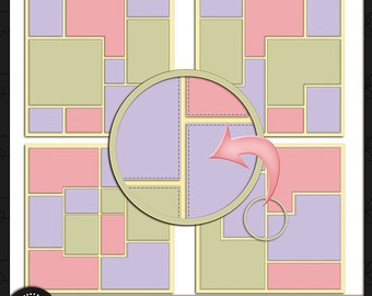 Digital Scrapbooking, Stitch It Up Template Pack 2
