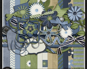 "Digital Scrapbook Kit, ""Denim and Dasies"""