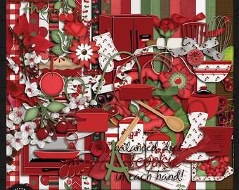 """Digital Scrapbook Kit, """"My Cherry Kitchen"""""""