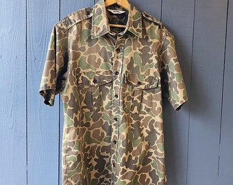 c66f1cd6e3c4d Vintage 70's Duxbak Camo Short Sleeve Shirt L