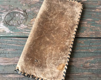 Vintage Large Wallet Business Document Cover Hand Stitched 1930's Deerskin Ledger