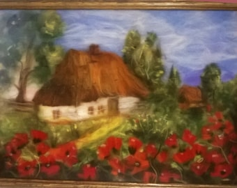 Picture of old house and poppies.