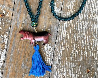 Hippo Tassel Necklace - Girls Necklace - Birthday Gift For Her - Tassel Jewelry - Animal Figrine Necklace - Tassel Necklace