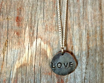 Love Silver Charm Necklace - Minimalist Silver Necklace - Layering Necklace
