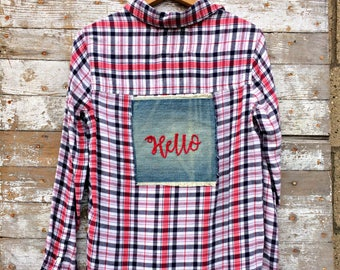 Hello Upcycled Flannel Shirt - Hand Embroidered Patch - Grunge Fashion - Soft Womens Plaid Shirt