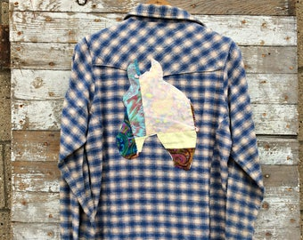 Western Horse Flannel Shirt - Upcycled Women's Plaid Top - Soft Cowgirl Clothing - Barrel Racing - Rodeo Horse Shirt