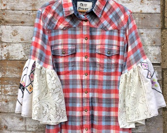Flared Sleeve Flannel Shirt - Hippie Clothing - Hand Embroidered Plaid Shirt - Chic Clothing - Upcycled Clothing