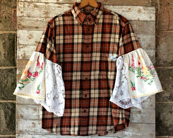 Flared Sleeve Flannel Shirt - Upcycled Hippie Bell Sleeve Shirt - Hand Embroidered Lave Sleeves - Boho Clothing 3/4 Length Sleeves