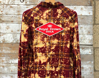 Distressed Flannel Shirt - Royal Crown Cola Patch - Splatter Bleached Grunge Shirt - 90's Fashion