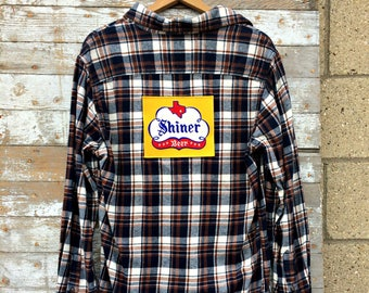 Shiner Beer Flannel Shirt - Upcycled Unisex Flannel Shirt - Plaid Shirt - Texas Beer Patch - Vintage Beer Shirt - Graphic Tee