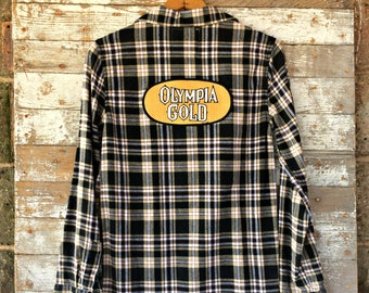 Upcycled Beer Flannel Shirt - Olympia Gold Beer Patch - Side Zipper Black Flannel - Women's Plaid Shirt