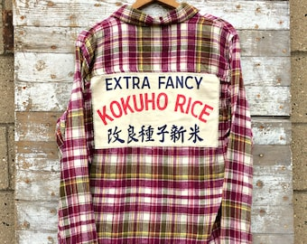 Upcycled Rice Bag Flannel Shirt - Women's Plaid Button Up - Purple Feed Sack Flannel - Kokuho Rice Extra Fancy Bag