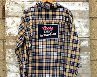 Coors Light Flannel Shirt - The Silver Bullet Patch Plaid Shirt - Upcycled Beer Shirt - Unisex Beer Clothing
