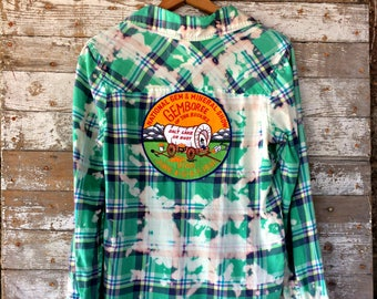 Utah Distressed Flannel Shirt - Splatter Bleached Utah Patch Plaid Shirt - Upcycled Green Women's Flannel - Pioneers Patch
