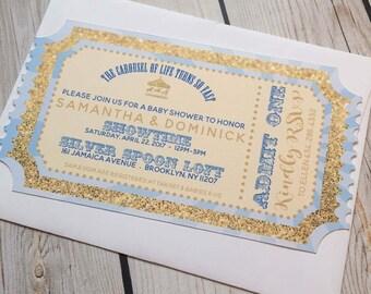 Blue Ticket Carousel Invitation Boy