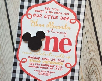 Mickey Mouse Invitations First Birthday