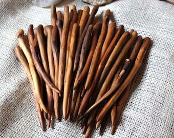 Juniper Economy Maker's Choice  1 Hand carved Texas Juniper wood shawl pin Hair stick, Shawl stick OOAK