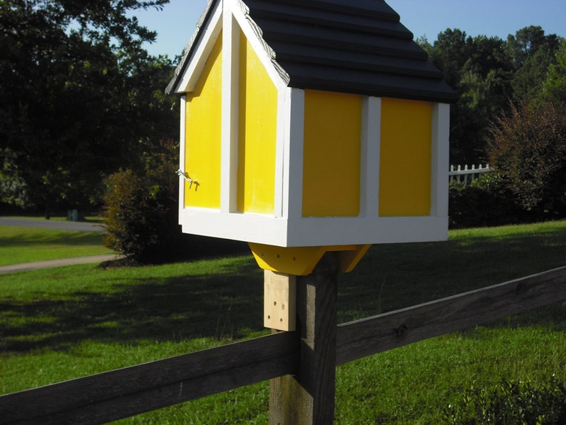 Little house on a stick neighborhood book box library custom painted Deluxe Three Colors with Post Mount fully assembled