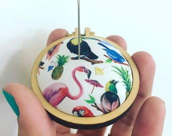 Embroidery pincushion. Liberty fabric pincushion. Liberty pin cushion. Dandelyne needleminder. Liberty necklace. Sewing gifts. Mini hoop