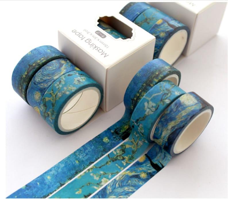 Planner Accessories Bullet Journal Accessories 3 PCS Van Gogh Washi Tape Starry Night Washi Tape Scrapbook Accessories Art Washi