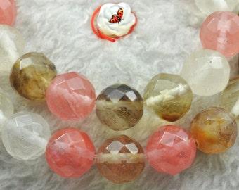 64 faces''---Cherry quartz faceted round beads 10mm,37 pcs