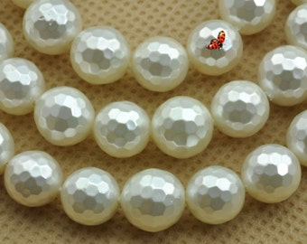 Solid color Shell Pearl faceted round beads 8mm,47 pcs