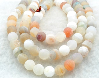 Agate,matte round beads in 8mm,47 pcs