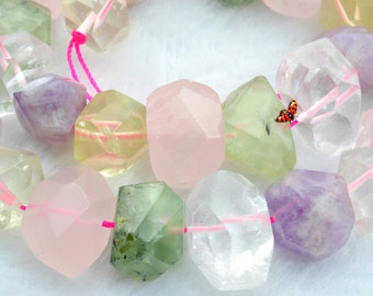 A grade  Mixed Quartz faceted Nugget Chunks beads (11-13)x(14-19)mm,15 inches