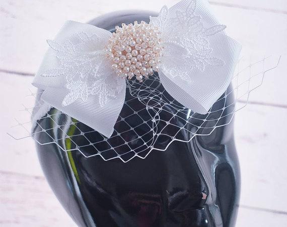 Christening white bow with veil headband - Baby / Toddler / Girls / Kids Headband / Hairband / Hair bow /Baptism /First Communion